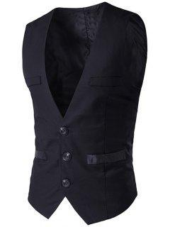 Buckled Welt Pocket Single Breasted Waistcoat - Black L