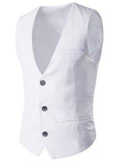 V-Neck Single-Breasted Edging Design Waistcoat - White M