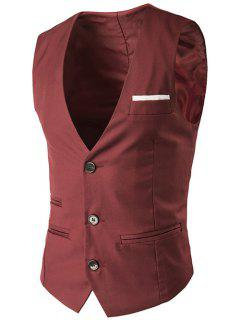 V-Neck Single-Breasted Edging Design Waistcoat - Red M