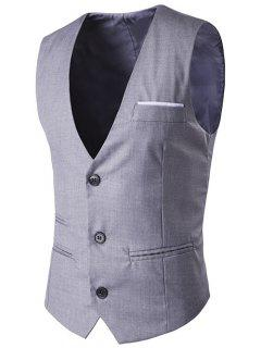 V-Neck Single-Breasted Edging Design Waistcoat - Gray M