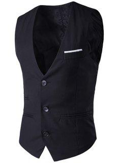 V-Neck Single-Breasted Edging Design Waistcoat - Black 2xl