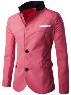 Buttoned Cuffs Twill Men Blazer - Red Xl