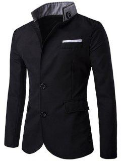 Stand Collar Sleeve Button Single Breasted Blazer - Black L