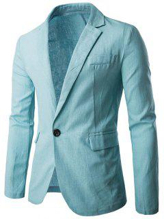 Lapel One Button Design Cotton+Linen Blazer - Light Blue L
