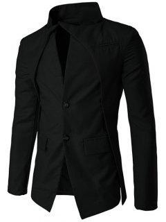 Soporte De Cuello De Diseño Irregular De Un Solo Pecho Blazer - Negro M