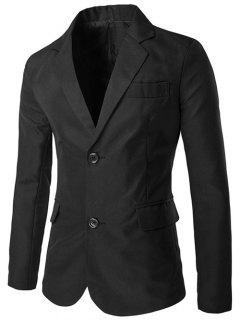 Lapel Single-Breasted Design Side Slit Blazer - Black M
