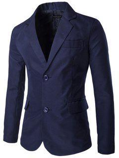 La Solapa De Un Solo Pecho De Diseño Hendidura Lateral Blazer - Azul Marino  L