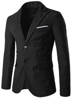 Lapel Single-Breasted Design Edging Blazer - Black Xl