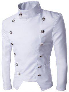 Stand Collar Irregular Design Double-Breasted Blazer - White Xl