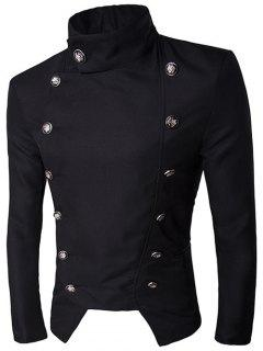 Stand Collar Irregular Design Double-Breasted Blazer - Black L