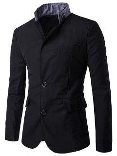 Color Splicing Single-Breasted Blazer - Black M