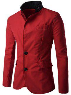 Color Splicing Single-Breasted Blazer - Red M