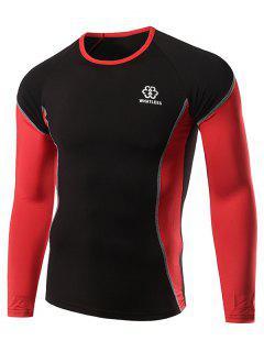 Cuello Redondo De Costura Inserte La Camiseta - Rojo M