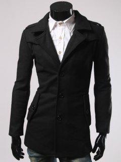 Single-Breasted Back Slit Woolen Blend Coat - Black 2xl