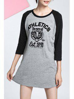 Baseball Boyfriend T-Shirt Dress - Gray S