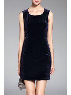Fitted Mini Sleeveless Velvet Dress - Deep Blue S