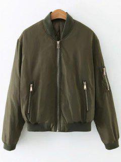 Bolsillo Con Cremallera Acolchada Chaqueta De Bombardero - Verde Del Ejército S