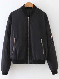 Zip Pocket Quilted Bomber Jacket - Black S