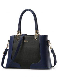 Metal Color Block PU Leather Tote - Deep Blue
