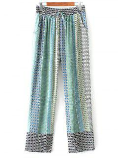Printed Staight Cut Lounge Pants - Blue S