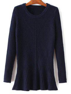 Ribbed Peplum Sweater - Purplish Blue