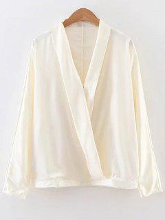 Long Sleeve Chiffon Surplice Top - Off-white M