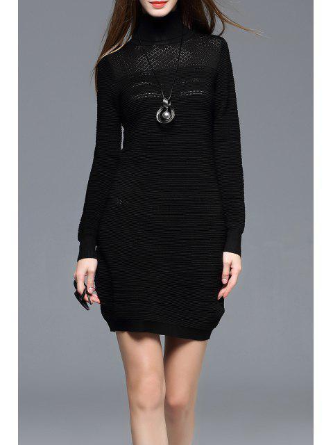 Vestido de Suéter con Cuello de Tortuga - Negro M Mobile