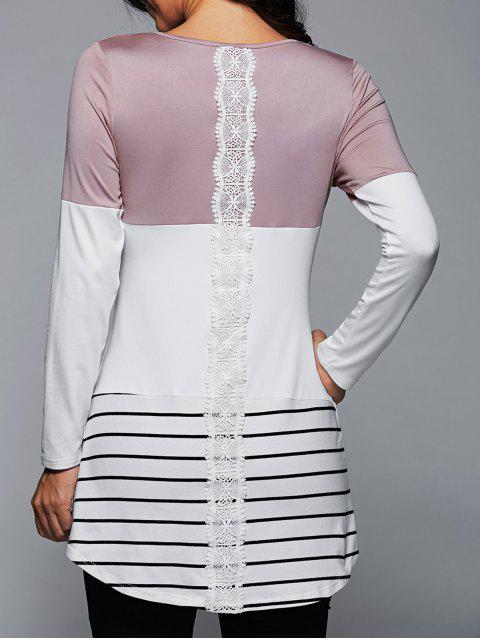 Langes T-Shirt mit Spitze Einsatz,Streifenmuster und Langarm - Helles Rosa XL Mobile