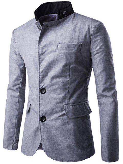 fashion Color Splicing Single-Breasted Blazer -   Mobile