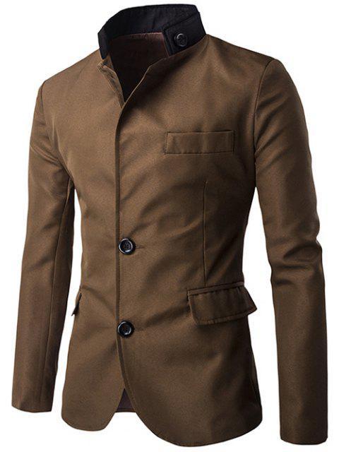 sale Color Splicing Single-Breasted Blazer -   Mobile