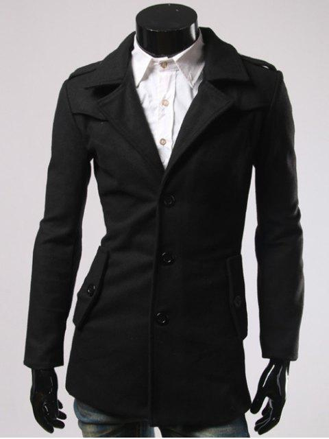 Single-breasted Retour Slit Woolen Blend Coat - Noir 2XL Mobile