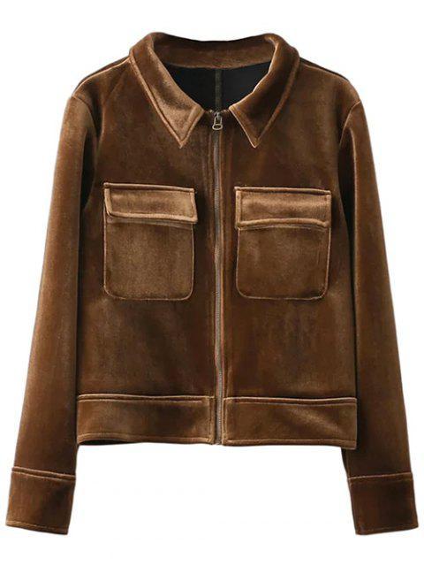buy Zip Up Velvet Jacket - BROWN M Mobile
