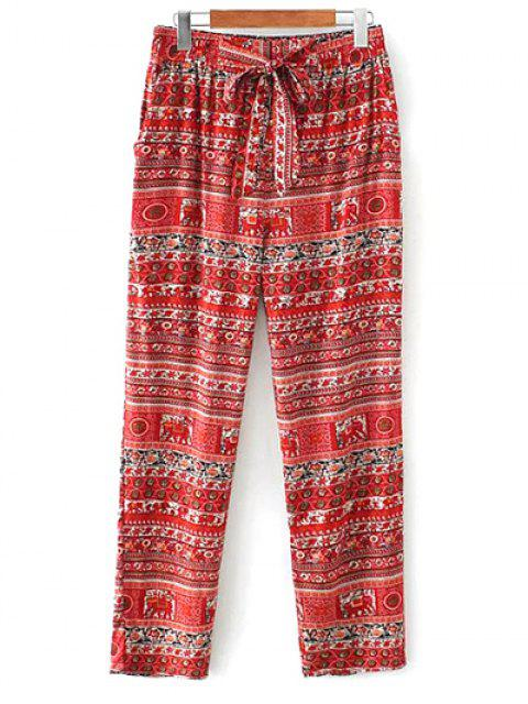 hot Printed Straight Cut Casual Pants - RED M Mobile