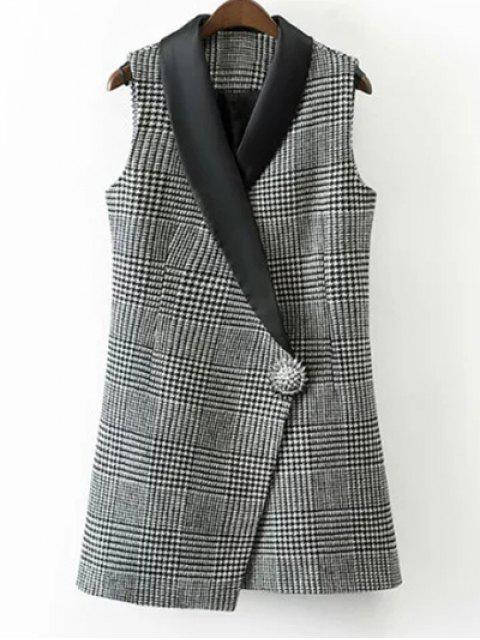 HOUNDSTOOTH One Button Waistcoat - Blanc et Noir S Mobile
