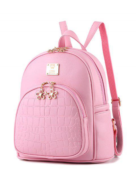PU-Leder Rucksack mit Krokodilprägen - Pink  Mobile