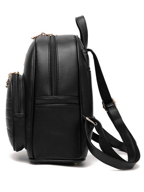 sale PU Leather Crocodile Embossed Backpack -   Mobile