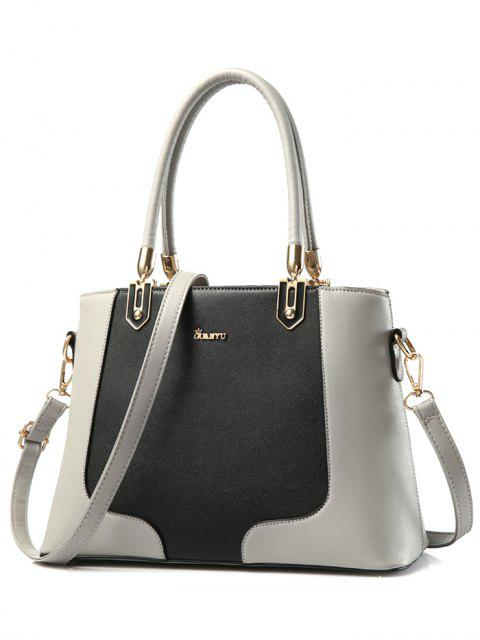 lady Metal Color Block PU Leather Tote - GRAY  Mobile