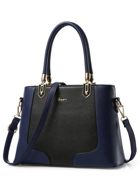 best Metal Color Block PU Leather Tote - DEEP BLUE  Mobile