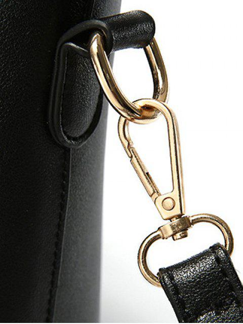 Métal Color Block cuir PU Tote - ROSE PÂLE  Mobile