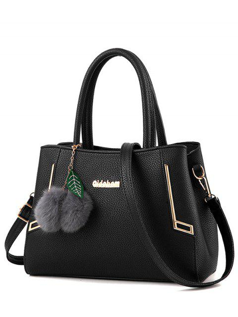 new Metal PU Leather Pom Pom Tote - BLACK  Mobile