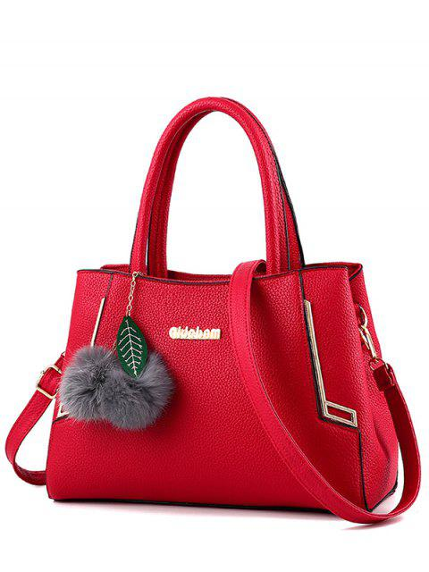 hot Metal PU Leather Pom Pom Tote - RED  Mobile