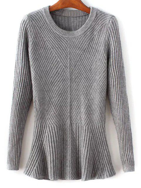 trendy Ribbed Peplum Sweater - GRAY ONE SIZE Mobile