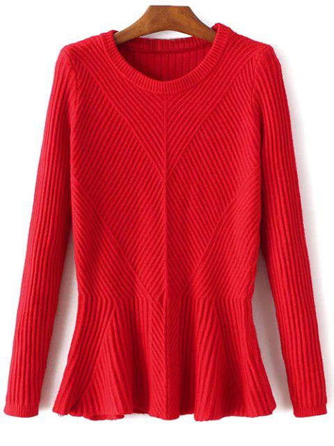 Côtelé Peplum Sweater - Rouge TAILLE MOYENNE Mobile