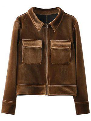 Zip Up Velvet Jacket - Brown M