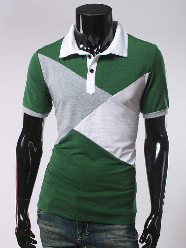 Color Splicing Short Sleeve Polo T Shirt 196868209