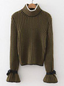 Mock Neck Flare Sleeve Knitted Sweater - ARMY GREEN ONE SIZE