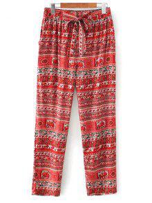 Impresos Pantalones Ocasionales De Corte Recto - Rojo M
