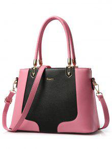 Metal Color Block PU Leather Tote - Pink