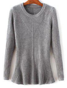 Buy Ribbed Peplum Sweater - GRAY ONE SIZE