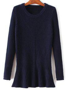 Buy Ribbed Peplum Sweater - PURPLISH BLUE ONE SIZE